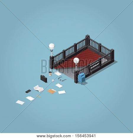 «A morning way to work» - isometric vector illustration. Subway station entrance with lost business men objects - briefcase paper glasses documents folder phone stock infographic.