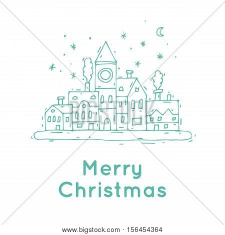 Happy New Year and Merry Christmas. Winter landscape of the old town, snow. Hand-drawn, lino-cut. Thin line. Greeting card. Flat design vector illustration.