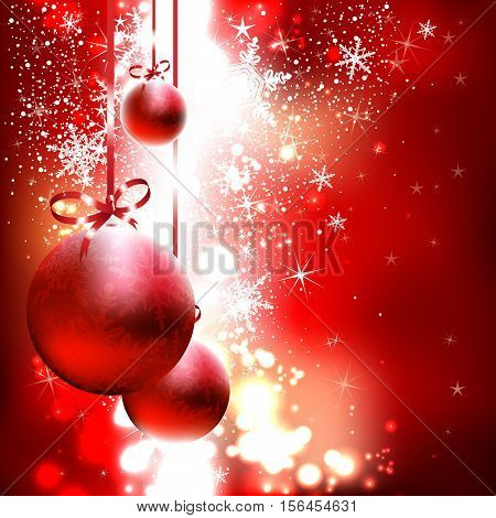 red shining background with Christmas balls and snowflakes