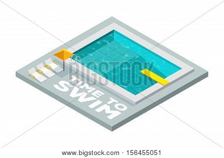 Time to swim. Swimming pool. Flat isometric icon. Swimming pool with a diving board in isometric style. Vector illustration