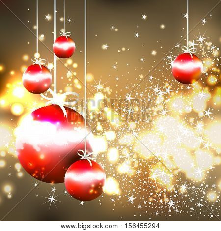 shiny gold background with red Christmas balls