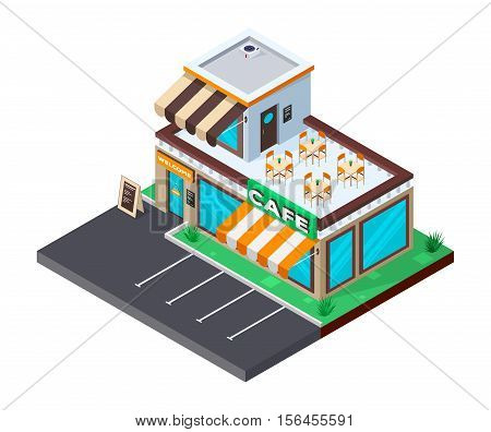 Сafe isometric building. Coffee shop with parking. Flat isometric icon. Welcome to cafe. Vector illustration