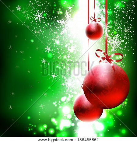 Green shiny background with red Christmas balls