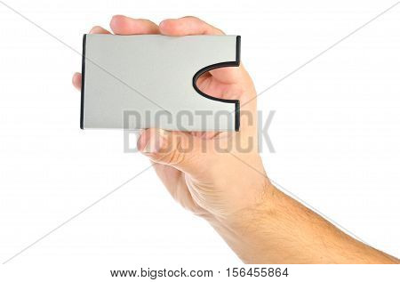 hand with card holder isolated on white background