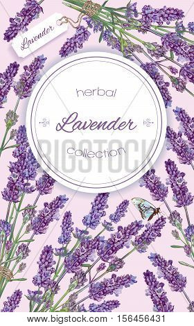 Lavender natural cosmetics vertical banner on lilac background. Design for cosmetics make up store beauty salon natural and organic products health care productsaromatherapy. Vector illustration