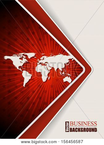 Abstract red brochure design with stripes stars and world map