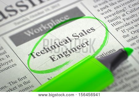 Technical Sales Engineer. Newspaper with the Small Ads of Job Search, Circled with a Green Marker. Blurred Image with Selective focus. Concept of Recruitment. 3D Illustration.