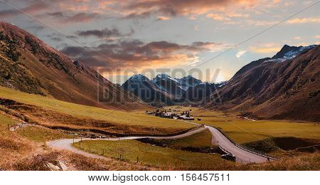 Pictorial Valley Ground And Sertig Village In Autumnal Morning Mood. Swiss Alps.
