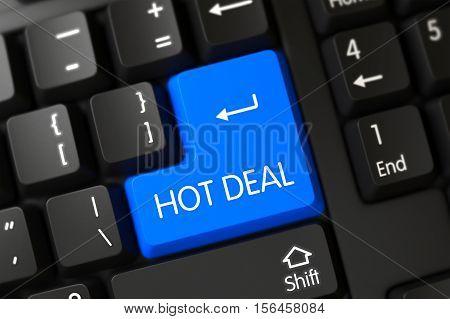 Hot Deal on Modern Laptop Keyboard Background. 3D Render.
