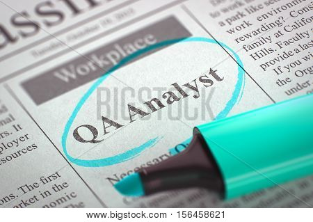 Newspaper with Small Ads of Job Search QA Analyst. Blurred Image with Selective focus. Hiring Concept. 3D Rendering.