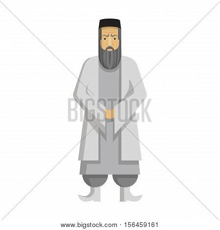 Isolated arabic mullah standing on white background. Concept of middle east and islamic religion .