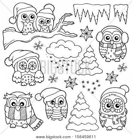 Winter owl drawings theme 1 - eps10 vector illustration.