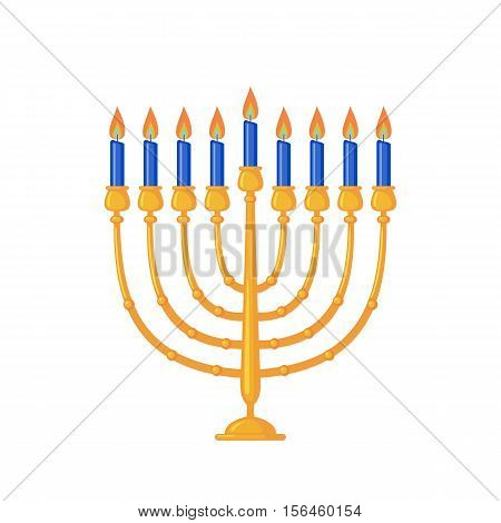 Menorah icon in flat style isolated on white background. Hanukkah traditional symbol. Vector illustration.