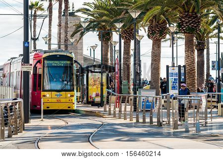 Adelaide Australia - August 16 2015: Tram at Moseley Square stop ready to depart towards Adelaide city. Moseley Square is a public place in the City of Holdfast Bay at Glenelg.