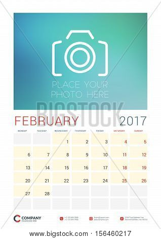 Wall Calendar Planner Template For 2017 Year. February. Vector Design Template With Place For Photo.