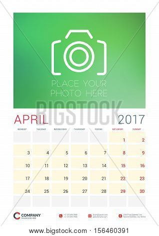 Wall Calendar Planner Template For 2017 Year. April. Vector Design Template With Place For Photo. We