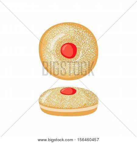 Sufganiyot icon in flat style isolated on white background. Traditional Hanukkah food. Vector illustration.