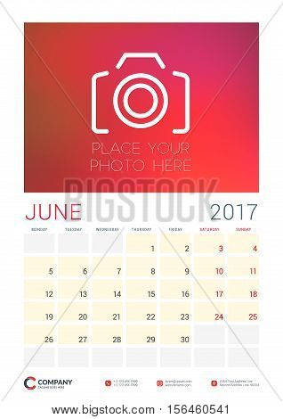 Wall Calendar Planner Template For 2017 Year. June. Vector Design Template With Place For Photo. Wee