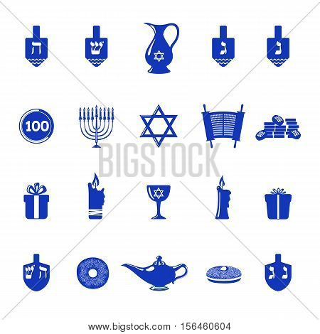 Set of Hanukkah holiday icons in flat style isolated on white background. Traditional Hanukkah symbols. Vector illustration.