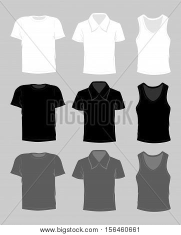 Template t-shirt set. White, grey and black colors. T-shirt, polo and singlet.