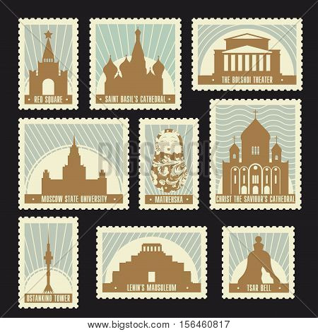 Set of Moscow historic sights post stamps. Red square Saint Basil's Cathedral Bolshoi Theatre Ostankino Tower. Soviet retro design for your touristic poster t-shirt card or web