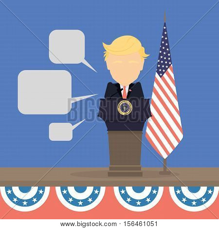 Russia November. 08, 2016 Donald Trump with american flag and speech bubbles. New american president is Donald Trump.