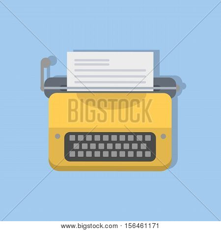 Isolated yellow typewriter. Retro equipment for writers and journalists.