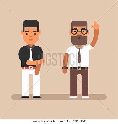 Expressions and emotions. Colored flat vector illustration. Angry chief and his employee. Flat colored vector illustration