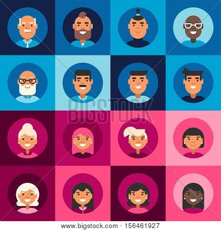 Composition of diverse smiling faces of men and women. A set of colored flat vector illustrations on blue and pink backgrounds
