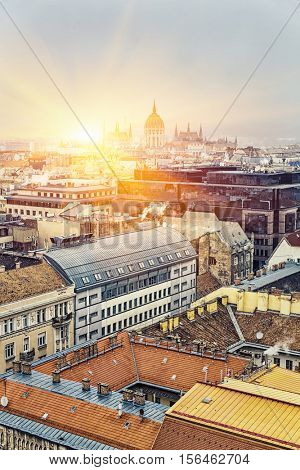 Aerial View On Budapest At Sunrise / Sunset, Hungary