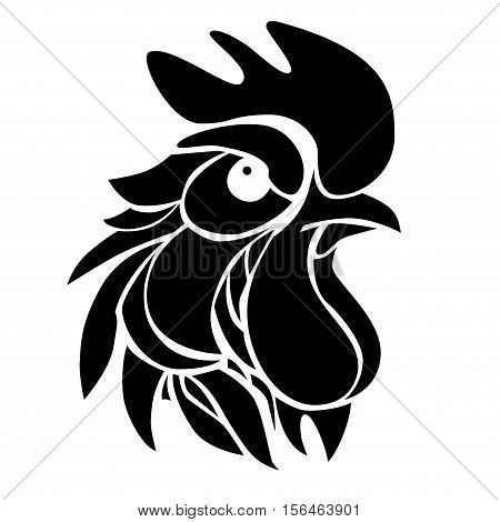 Vector illustration with decorative silhouette of suspicious rooster. Graphic symbol of 2017 year in black color.