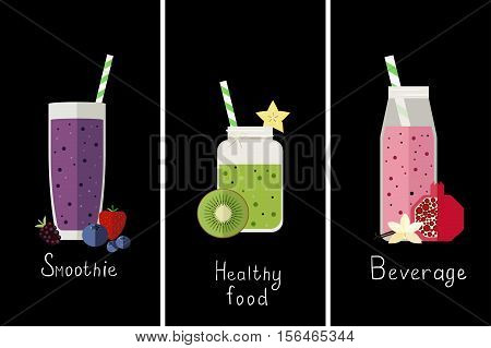 Vector illustration of three different kinds of smoothie.