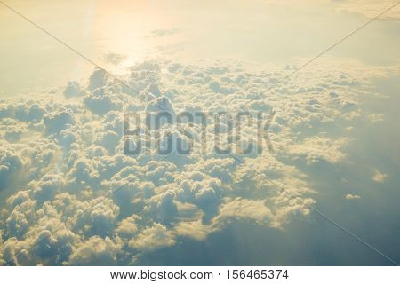 Sun Rise View Above The Clouds