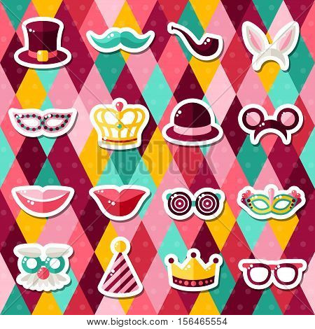 Set of Carnival Masks on Colorful Geometric Background. Vector illustration. Masquerade Party Stickers.