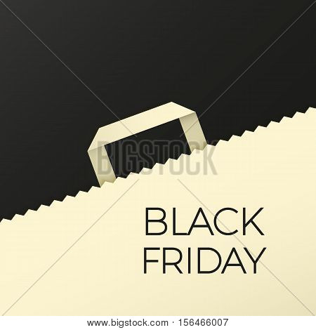 Flat design vector illustration with shopping bag. Black friday concept background for newsletters online stores, web sites banners of shopping, discount, e-commerce, online shopping, sale.