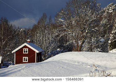 small rural cottage surrounded by wintery snowscape
