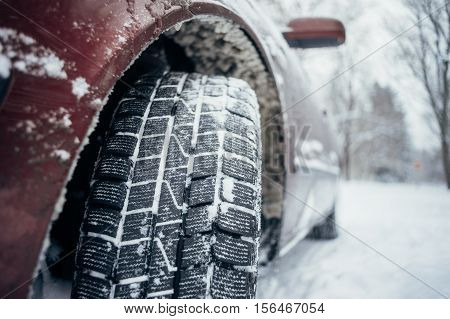 All-season tyre or mud and snow tire closeup on protector