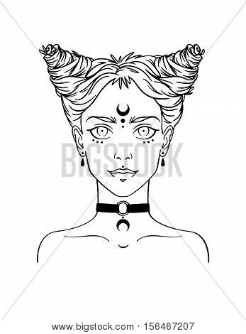 Stylish beautiful young girl with modern hairstyle and piercing. Nu-goth girl portrait in hand drawn style. Vector illustration of young subcultural girl with choker and dark moon on her forehead.