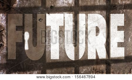 Future Written On A Wall With Jail Bars Shadow