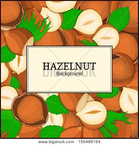 The rectangular frame on hazelnut background. Vector card illustration. Nuts frame, walnut fruit in the shell, whole, shelled, leaves, appetizing looking for packaging design of healthy food