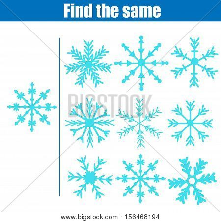 Find the same pictures children educational game. Find equal snowflakes kids activity