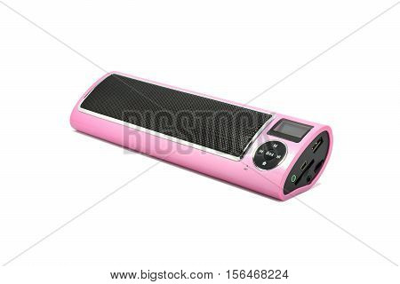 Mini wireless bluetooth speaker for computer notebook and smart phone isolated on white background.