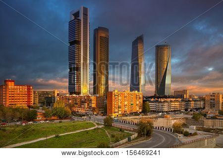 Madrid. Image of Madrid, Spain financial district with modern skyscrapers during sunrise.