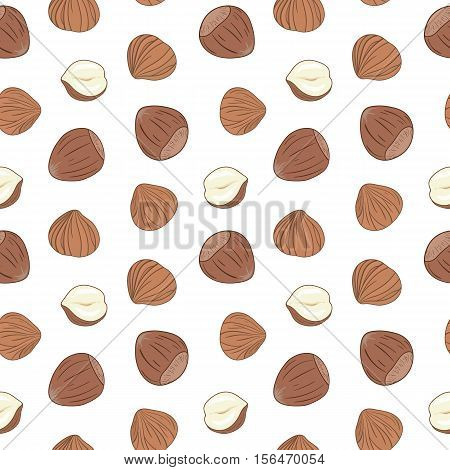 Seamless pattern with shelled and whole hazelnuts on white background. Hand drawn vector seamless pattern, eps10. For backgrounds, packaging, ads, interiors, labels and other designs.