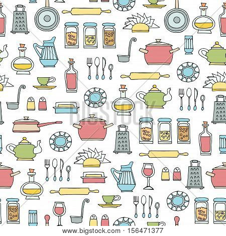 Vector seamless pattern with hand drawn colored kitchen utensils. Pattern on the theme of cooking food. Background for use in design, packing, web site, fabric