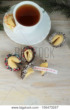 Fortune Cookies On The Table With Inscription