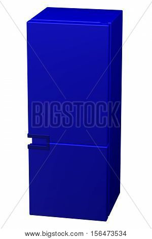 Blue refrigerator isolated on white background. 3D rendering.