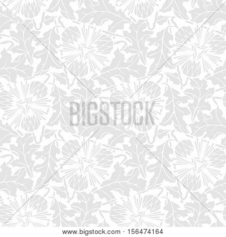 White background with gray stilized leaf and flower. Vector seamless pattern
