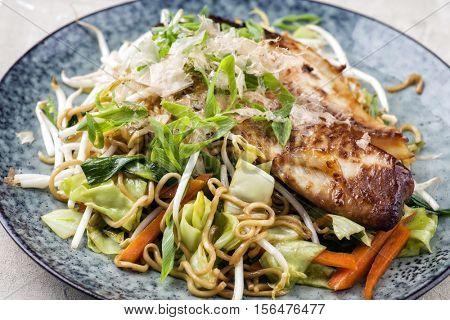 Yakisoba Noodles with Fish Teriyaki