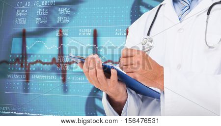 Doctor writing on clipboard against panoramic view of genetic research information at screen